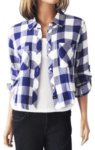Rails Crop Button Down Top Blue and White