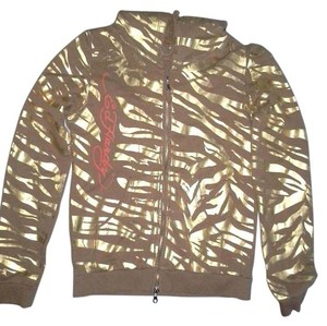 Ed Hardy Brown and Metallic Gold Jacket