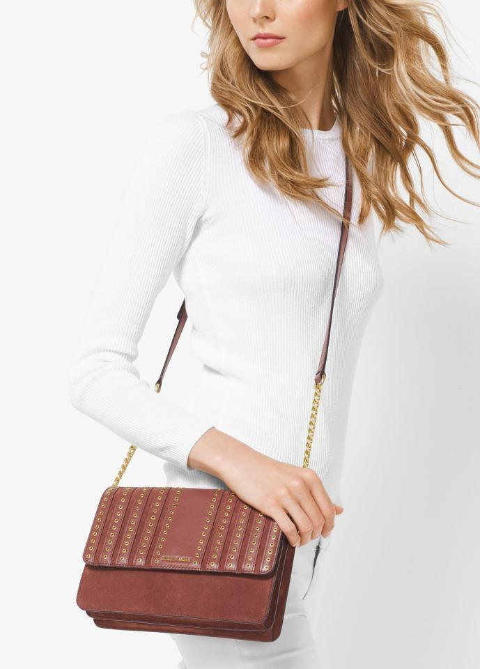 245087e30b90 Michael Kors Brooklyn Large Grommet And Brick Suede Leather Cross Body Bag  - Tradesy