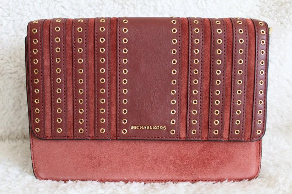 6985b07cc4a4 Michael Kors Brooklyn Large Grommet And Brick Suede Leather Cross Body Bag  - Tradesy