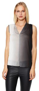 Helmut Lang Ombre Silk Top Ombre/ Black/ White