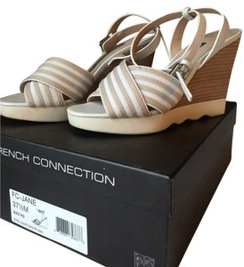French Connection Wedge Sandal Striped White & Tan Wedges