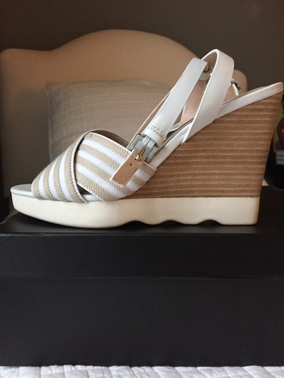 French Connection Sandal Striped Lightweight Comfortable White & Tan Wedges
