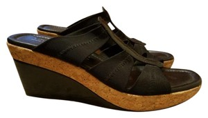 Donald J. Pliner J Cork Stretchy Comfortable Black Wedges