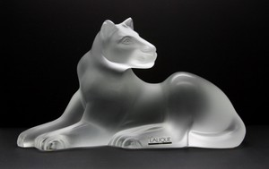 Lalique France Crystal Figure Lioness Simba Sculpture