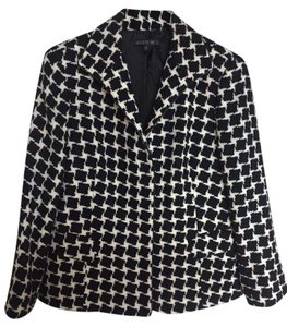 Lafayette 148 New York Houndstooth Black White Jacket