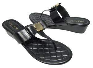 Cole Haan Bow Low Wedge Leather black Sandals
