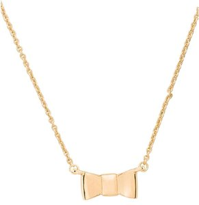 "Kate Spade Kate Spade ""Take a Bow"" Gold Pendant Necklace"