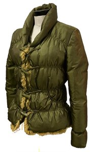 The/End Down Rabbit Fur Size S Metallic Olive Green Jacket