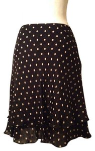Jones New York Tiered A-line Signature 100% Silk Skirt Black and White polka dot