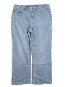 Liz Claiborne School Spandex Stretch Trouser/Wide Leg Jeans-Light Wash