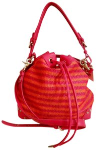 Badgley Mischka Bucket Drawstring Straw Leather Rare Cross Body Bag