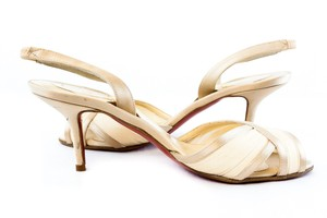 Christian Louboutin Louboutin Satin Peep Toe Slingback Cream Pumps
