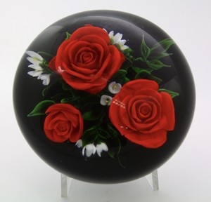 Rick Ayotte Various Sizes Three Red Roses Art Glass Paperweight