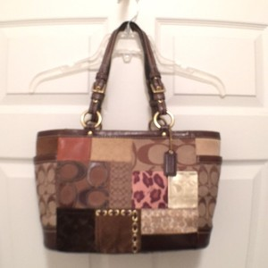 Coach Leather Patent Leather Suede Satchel Tote in Brown Tan Gold Silver (Multi)