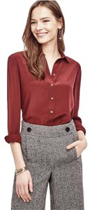 Ann Taylor Silk Button Down Top Chianti Red