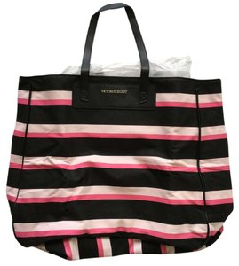 Victoria's Secret Black & Pink Canvas Tote in Black/Pink