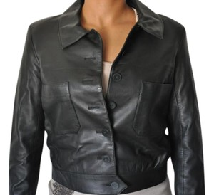 Chanel Black Very dark green Leather Jacket