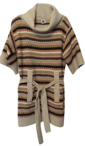Missoni short dress Off-white, tan, peach, black Sweater Tunic Cowl Neck Large on Tradesy
