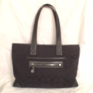 Coach Canvas Leather Satchel Tote in Black