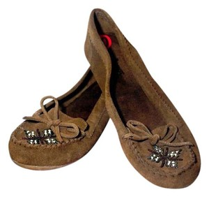 Minnetonka Leather Suede Beaded Moccasin Brown Flats