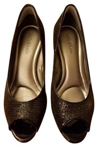 Kelly & Katie Glitter Peep Toe Black Black Glitter Pumps