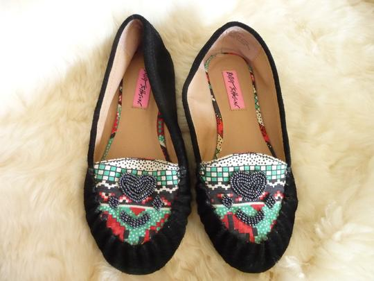 Betsey Johnson Multi-colored; Black, Turquoise, Red, White Boots
