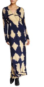 Navy Camel Bttm Diamonds Maxi Dress by Go Couture