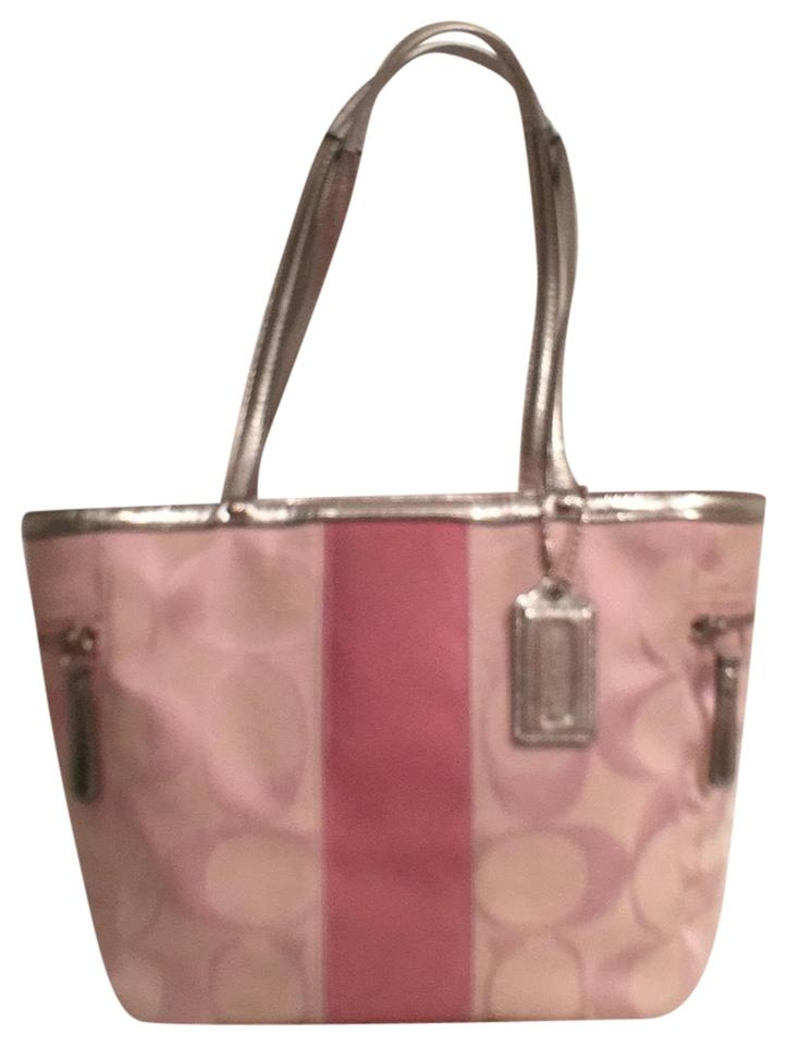 Coach Rare Signature Logo W Leather Trim 13280 Pink Silver Canvas ... 017e701150b10