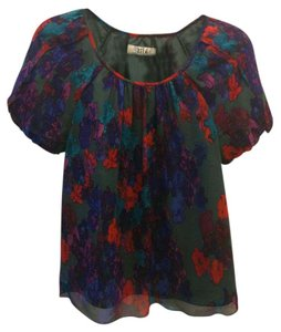 Tibi Silk Floral Top Grey/Multi