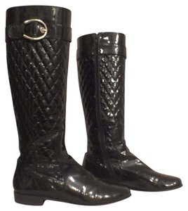 Stuart Weitzman Quilted Knee High Riding Boot Black Boots
