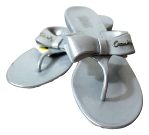 Coach Jelly Thong Slip On Bow Silver, Grey Flats