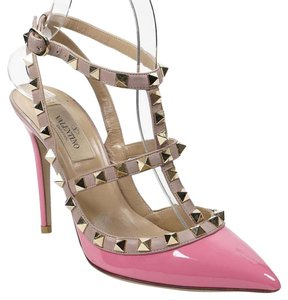 Valentino Rockstud 36 Bubblegum Pointed Toe Ankle Strap Pink Pumps