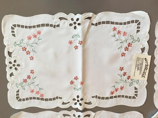 Multicolor Perfect Condition- Four White Handmade Embroidered Colorful Placemats
