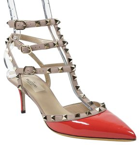 Valentino Rockstud 39 Watermelon Ankle Strap Coral Red Pumps