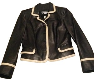 Salvatore Ferragamo Black & cream Leather Jacket
