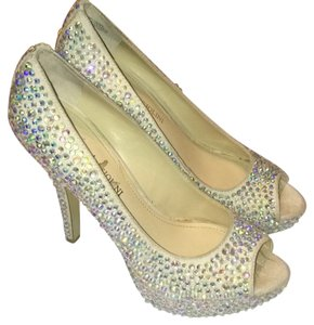 Enzo Angiolini Beige and covered with Abs rhinestones Platforms