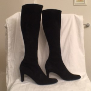 Stuart Weitzman Stretchy Suede Suede Black Boots