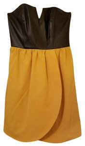 5/48 Faux Leather Party New Years Strapless Dress
