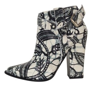 Thakoon Printed Pointed-toe Buckle White/Black Boots