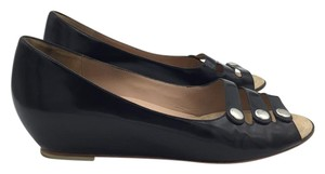 Marc Jacobs Patent Open Toe Hidden Slip Jacobs Black Wedges