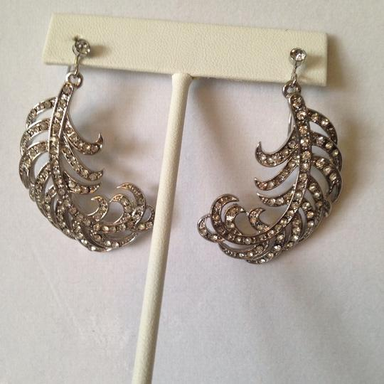 Neiman Marcus Crystal Feather Earrings