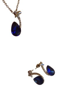 Other SILVER PLATED CUBIC ZIRCONIA SAPPHIRE BLUE NECKLACE EARRINGS SET