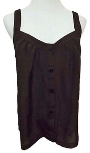 H&M Sweetheart Neck Button Front Top Black
