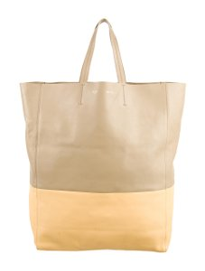Céline Celine And Leather Tote in Beige, Yellow