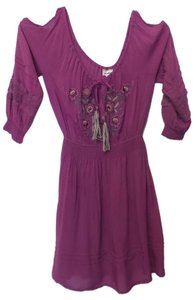 Lulumari short dress Purple Anthropologie Peasant Cold Shoulder Tunic Top Embroidered on Tradesy