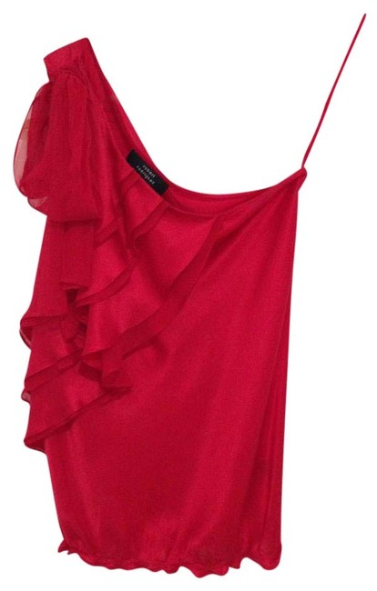 Robert Rodriguez Red Ruffle and Bow Blouse Size 2 (XS) Robert Rodriguez Red Ruffle and Bow Blouse Size 2 (XS) Image 1