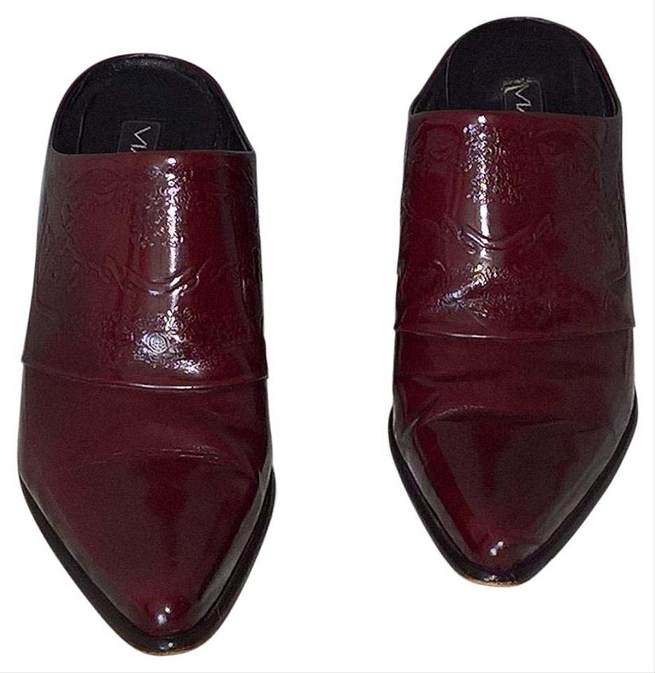 28c1de5558 Via Spiga Vintage Made In Italy Burgundy Spazzolato Leather Mules Image 0  ...