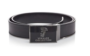 Versace Collection Versace Collection Black Leather Medusa Adjustable Belt 173