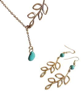 Other SILVER TONE TURQUOISE CHARM CHAIN NECKLACE EARRING SET